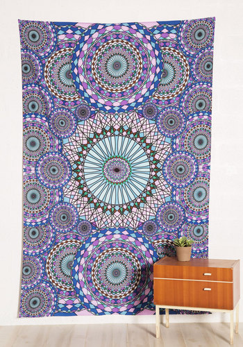 On Top of the Swirl Tapestry - Woven, Cotton, Multi, Boho, Good, Purple, Print, Vintage Inspired, 70s, Dorm Decor, Festival