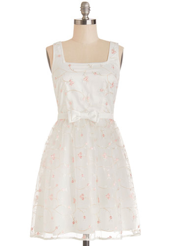 Spring Your Best Dress - Mid-length, Woven, White, Pink, Floral, Bows, Embroidery, Special Occasion, Graduation, A-line, Tank top (2 thick straps), Better, Spring