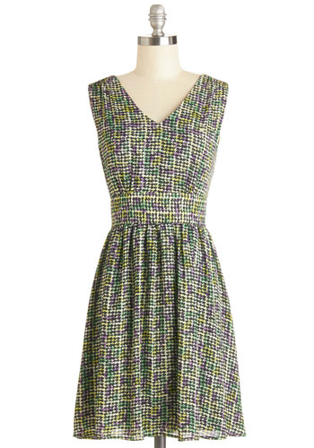 Marvelous Mosaic Dress by Darling - Multi, Houndstooth, Casual, A-line, Sleeveless, Better, V Neck, Woven, Mid-length, Work