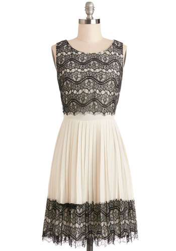 Rockin' Romance Dress by Darling - Tan / Cream, Black, Lace, Pleats, Party, A-line, Sleeveless, Better, Scoop, Sheer, Woven, Mixed Media, Lace, Mid-length, Prom