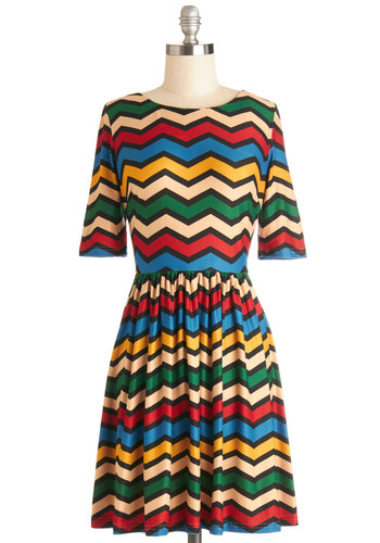 Inspire Bright Ideas Dress by Louche - Mid-length, Jersey, Knit, Multi, Chevron, Casual, A-line, Short Sleeves, Better, WPI