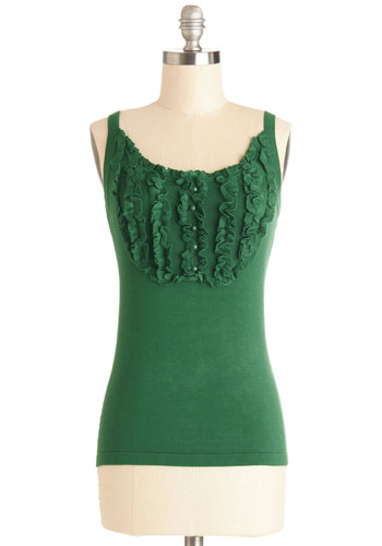 Afternoon in the Arboretum Top by Effie's Heart - Knit, Green, Solid, Buttons, Ruffles, Sleeveless, Spring, Summer, Better, Green, Sleeveless