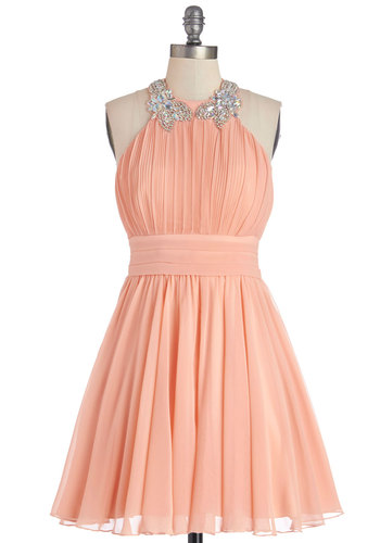 Peach to Meet You Dress - Solid, Pleats, Rhinestones, Special Occasion, Prom, Wedding, Bridesmaid, A-line, Halter, Better, Chiffon, Woven, Pink, Pastel