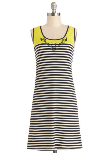 Up with the Sun Dress - Multi, Stripes, Casual, Neon, Sleeveless, Good, Scoop, Knit, Mid-length, Shift, Spring, Summer