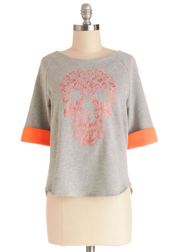 Mind of Your Own Top - Knit, Mid-length, Grey, Novelty Print, Embroidery, Skulls, Short Sleeves, Grey, Short Sleeve, Orange, Casual, Neon