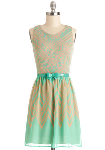 This Point in Time Dress - Print, Bows, Belted, Casual, A-line, Sleeveless, Good, Scoop, Chiffon, Woven, Tan / Cream, Mint, Exposed zipper, Spring