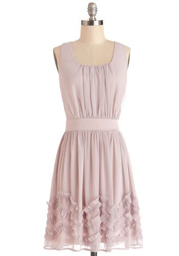Wedding Planner Dress - Solid, Ruffles, Daytime Party, A-line, Sleeveless, Good, Scoop, Mid-length, Chiffon, Woven, Satin, Pink, Wedding, Bridesmaid, Fairytale, Pastel, Spring