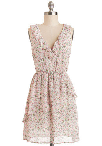 Potpourri Party Dress - Woven, Mid-length, Floral, Ruffles, Casual, A-line, Sleeveless, Good, V Neck, Multi, Green, Pink, White, Spring, Summer