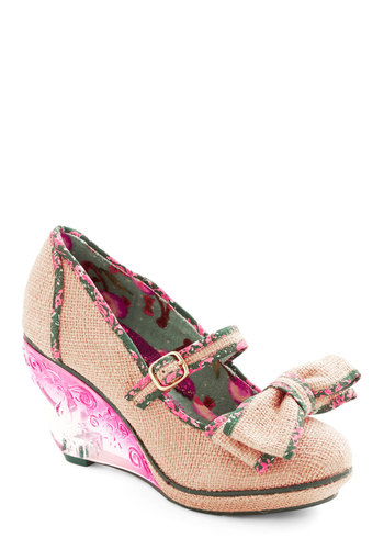 Fare Theater Well Wedge by Irregular Choice - Green, Multi, Bows, Daytime Party, Best, Mid, Woven, Pink, Wedge