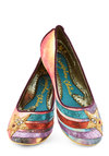 Starship-Shape Heel by Irregular Choice - Low, Woven, Multi, Novelty Print, Quirky, Sci-fi, Cosmic, Best