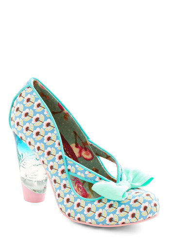 Unique in New York Heel in Blue by Irregular Choice - High, Woven, Blue, Multi, Floral, Bows, Cutout, Prom, Party, Daytime Party, Statement, Pastel, Best, Chunky heel
