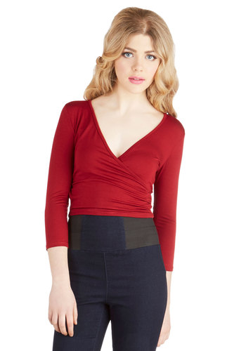 Crop of the Line Top - Knit, Short, Jersey, Red, Long Sleeve, Red, Solid, Long Sleeve, Good, V Neck, Basic