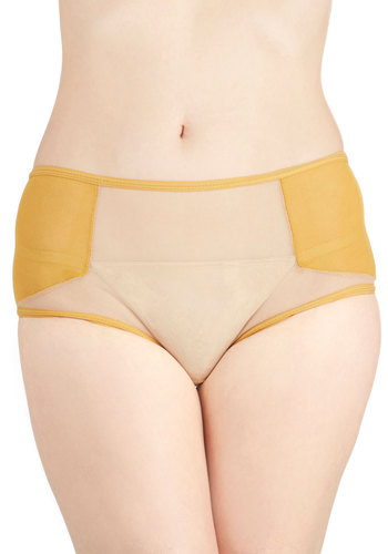 Charmed by You Undies - Sheer, Knit, Yellow, Tan / Cream, Solid, Boudoir, Darling