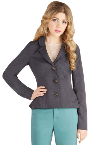 The Principal of the Thing Blazer by Myrtlewood - Woven, Short, 1, Grey, Solid, Buttons, Work, Steampunk, Peplum, Long Sleeve, Good, Collared, Grey, Exclusives, Private Label