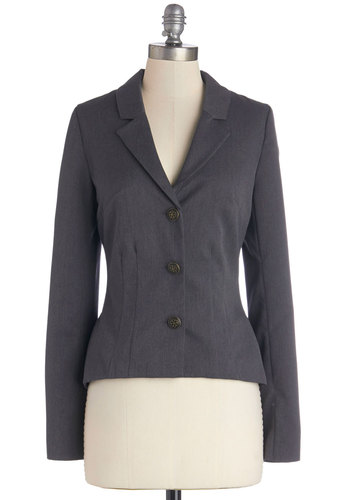 The Principal of the Thing Blazer by Myrtlewood - Woven, Short, Grey, Solid, Buttons, Work, Steampunk, Peplum, Long Sleeve, Good, Collared, Grey, Exclusives, Private Label, 1, Top Rated