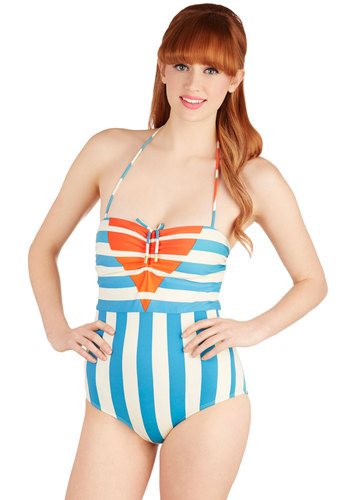Lauren Moffatt Sunrise Swimming One-Piece Swimsuit by Lauren Moffatt - Blue, Orange, Stripes, Beach/Resort, Vintage Inspired, 50s, Knit, White, Summer