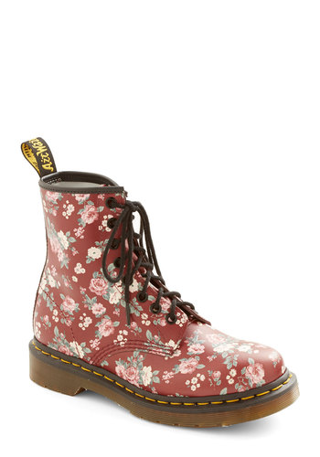 Stomp in the Name of Love Boot in Crimson by Dr. Martens - Low, Leather, Red, Multi, Floral, Vintage Inspired, 90s, Better, Lace Up, Variation, Statement, Festival, Boho