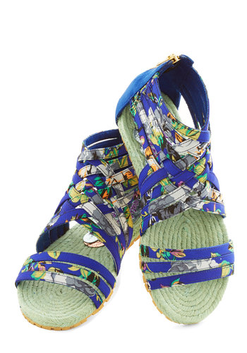 Tropical Trail Sandal by Irregular Choice - Flat, Woven, Blue, Multi, Floral, Casual, Beach/Resort, Summer, Best, Espadrille, Strappy, Statement