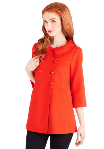 Poppy-Go-Lucky Coat by Darling - Woven, Long, Orange, Solid, Buttons, Pleats, Pockets, Vintage Inspired, 60s, 3/4 Sleeve, Better, Orange, 2, Peter Pan Collar, Darling