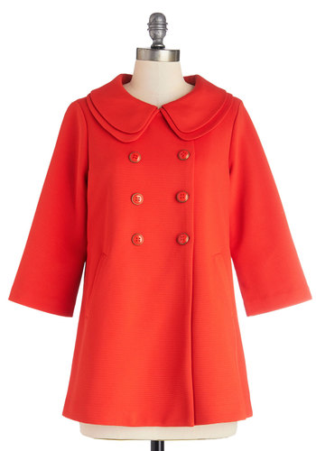 Poppy-Go-Lucky Coat in Red by Darling - Woven, Long, Orange, Solid, Buttons, Pleats, Pockets, Vintage Inspired, 60s, 3/4 Sleeve, Better, Orange, Peter Pan Collar, Darling, 2
