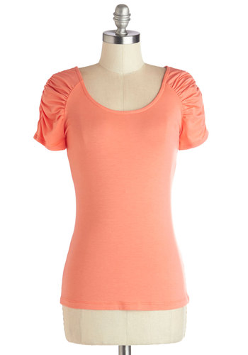 Less is Motif Top - Knit, Mid-length, Coral, Solid, Ruching, Short Sleeves, Basic, Scoop, Orange, Short Sleeve, Spring, Summer, Good