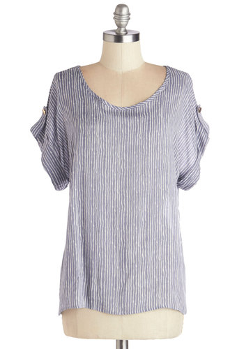 Breeze and Bevs Top in Blue - Mid-length, Chiffon, Woven, Blue, White, Stripes, Casual, Short Sleeves, Good, Blue, Short Sleeve
