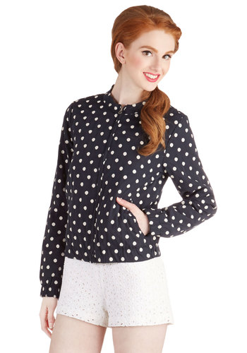 Spotty Forecast Jacket - Short, Woven, Blue, Polka Dots, Pockets, Casual, Nautical, Good, Blue, 1, White, Long Sleeve