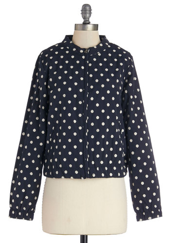 Spotty Forecast Jacket - Short, Woven, Blue, Polka Dots, Pockets, Casual, Nautical, Good, Blue, White, Long Sleeve, 1, Fall