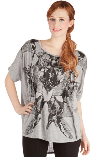 Rorschach Chic Top - Knit, Long, Grey, Novelty Print, Casual, Better, Grey, Short Sleeve, Short Sleeves