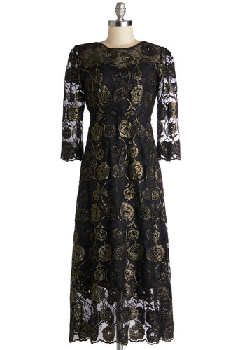 Glittering in the Garden Dress - Black, Gold, Embroidery, Special Occasion, Maxi, Long Sleeve, Best, Scoop, Sheer, Long, Cocktail, Vintage Inspired, 30s, 40s