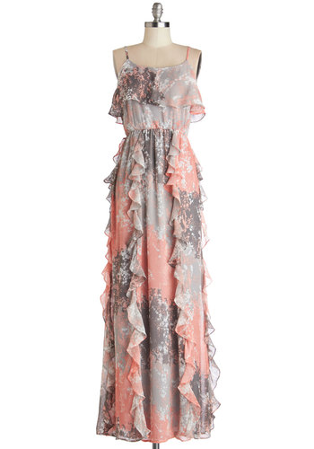 Beachside Bash Dress - Long, Chiffon, Woven, Multi, Print, Ruffles, Party, Maxi, Spaghetti Straps, Good, Scoop, Pink, Grey, Spring, Summer