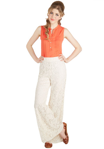 Je T'Aime Is Now Pants - Wide Leg, Good, Mid-Rise, Full length, White, Non-Denim, Lace, Festival, Cream, Lace, Casual, Daytime Party, Boho, Vintage Inspired, 70s, Solid, Beach/Resort, Spring, Summer