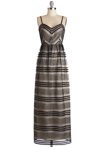 See You Swoon Dress in Black - Woven, Long, Black, Tan / Cream, Stripes, Embroidery, Sequins, Special Occasion, Prom, Maxi, Spaghetti Straps, Variation