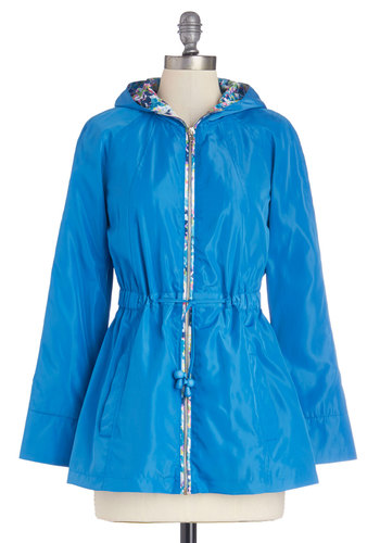 Stem to Stern Raincoat by Yumi - Blue, Solid, Floral, Pockets, Casual, Better, Woven, Mid-length, Spring, Festival, Blue, 2