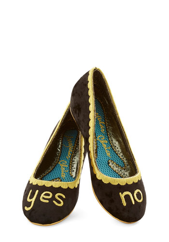 Decisively Dramatic Wedge by Irregular Choice - Low, Velvet, Black, Scallops, Quirky, Best, Wedge, Gold, Novelty Print, Sayings