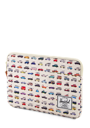 Tech Me on Your Trip Laptop Sleeve by Herschel Supply Co. - Travel, White, Woven, Multi, Novelty Print, Graduation