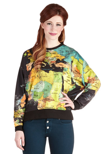 Mapped Crusader Sweatshirt - Multi, Novelty Print, Travel, Sweatshirt, Long Sleeve, Multi, Long Sleeve, Mid-length, Better, Quirky
