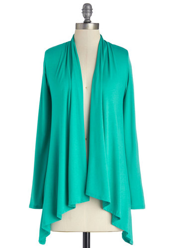 Ready, Set, Bake Cardigan in Turquoise - Jersey, Knit, Mid-length, Green, Solid, Casual, Long Sleeve, Good, Variation, Green, Long Sleeve, Beach/Resort