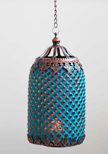 World Travels Fast Lantern - Blue, Boho, Good, Copper, Vintage Inspired, 70s, Summer, Festival
