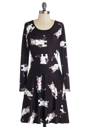 Not Just a Kitty Face Dress in Cartoon - White, Print with Animals, Casual, Cats, A-line, Long Sleeve, Good, Scoop, Knit, Mid-length, Black, Quirky, Critters