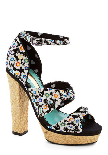 Arrange an Afternoon Heel - High, Woven, Black, Multi, Floral, Party, Spring, Summer, Best, Platform, Woven