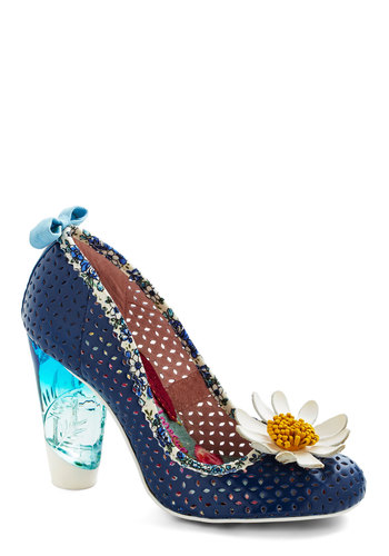 Come Into Bloom Heel by Irregular Choice - Blue, Multi, Solid, Cutout, Flower, Daytime Party, Best, High, Leather