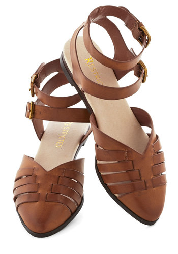Peninsula Parade Flat in Nutmeg by Restricted - Flat, Leather, Solid, Cutout, Casual, Daytime Party, Better, Brown, Variation, Festival