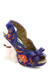 Critter-cal Support Heel by Irregular Choice - Blue, Orange, Floral, Bows, Daytime Party, Statement, Quirky, Cats, Best, Peep Toe, High, Woven, Print with Animals, Scallops