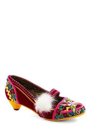 Eye-Catch You Later Heel by Irregular Choice - Low, Woven, Red, Multi, Floral, Print, Flower, Poms, Statement, Folk Art, Best