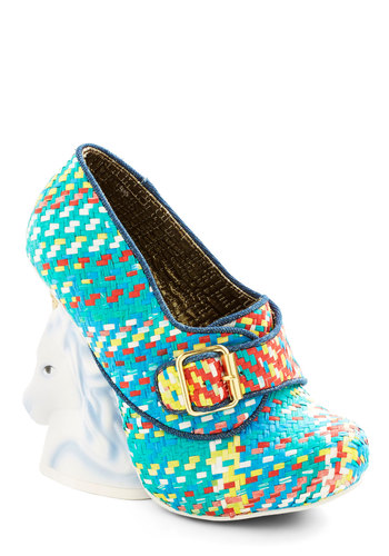 Never Myth a Beat Heel by Irregular Choice - High, Woven, Blue, Multi, Print with Animals, Novelty Print, Buckles, Party, Quirky, Critters, Best, Woven, Statement