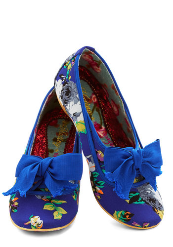 Fun in Florals Flat by Irregular Choice - Flat, Woven, Blue, Multi, Floral, Bows, Daytime Party, Fairytale, Best