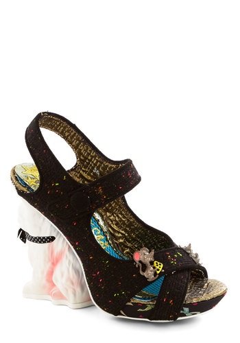 Chase Your Dreams Heel by Irregular Choice - High, Woven, Black, Multi, Solid, Party, Girls Night Out, Statement, Cats, Critters, Best, Wedge, Strappy, Quirky