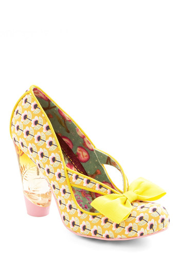 Unique in New York Heel in Yellow by Irregular Choice - High, Woven, Yellow, Multi, Floral, Bows, Daytime Party, Spring