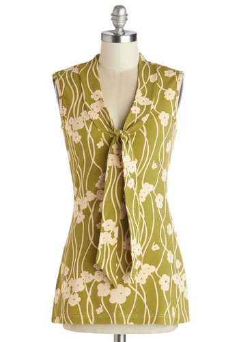 Housewarming Your Home Top by Effie's Heart - Cotton, Knit, Mid-length, Green, Floral, Tie Neck, Work, Sleeveless, Spring, Better, Green, Sleeveless, Tan / Cream, Daytime Party